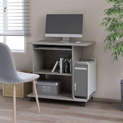 vidaXL Mesa de ordenador aglomerado gris hormigón 80x50x75 cm