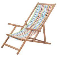 vidaXL Silla de playa plegable de tela y estructura madera multicolor