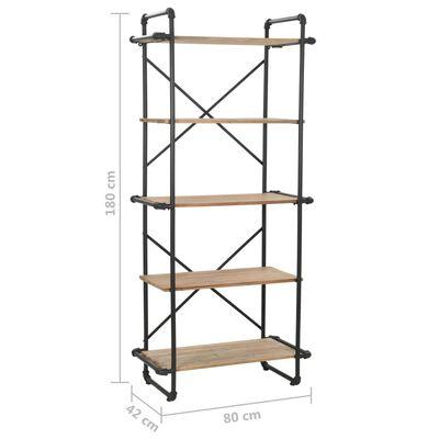 vidaXL Estantería de madera maciza y acero 80x42x180 cm