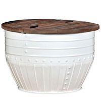 vidaXL Mesa de centro madera maciza reciclada blanca forma de barril