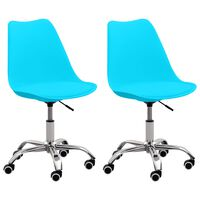 vidaXL Sillas de oficina 2 unidades cuero sintético azul