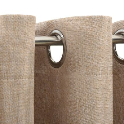 vidaXL Cortina opaca con ojales look de lino beige 290x245 cm