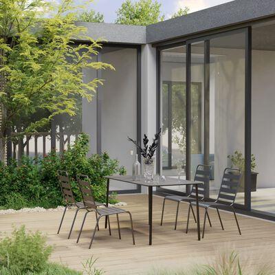 vidaXL Juego de comedor de jardín de 5 piezas acero gris oscuro