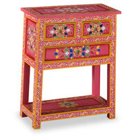 vidaXL Aparador con cajones madera maciza de mango rosa pintado a mano