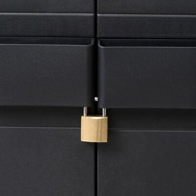 vidaXL Armario de jardín con 3 estantes negro