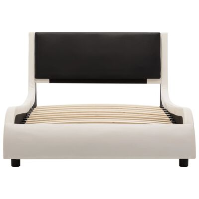 vidaXL Estructura de cama de cuero sintético blanco y negro 90x200 cm