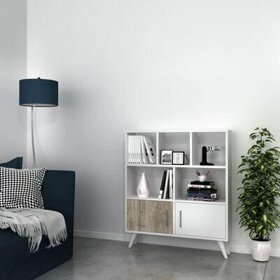 Homemania Estantería Ducky blanco y nogal 90x22x105 cm