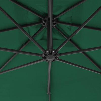 vidaXL Sombrilla voladiza voladiza con poste de acero 300 cm verde