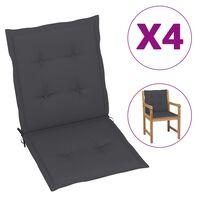 vidaXL Cojines para sillas de jardín 4 uds gris antracita 100x50x4 cm