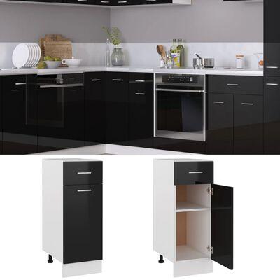 vidaXL Armario inferior con cajón de cocina aglomerado negro brillo