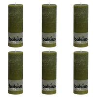 Bolsius Velas rústicas 6 unidades verde oliva 190x68 mm
