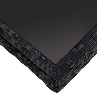 vidaXL Mesa de comedor de jardín ratán sintético y vidrio negro