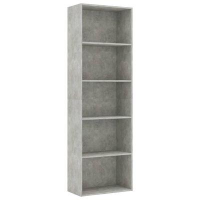 vidaXL Estantería de 5 niveles aglomerado gris hormigón 60x30x189 cm