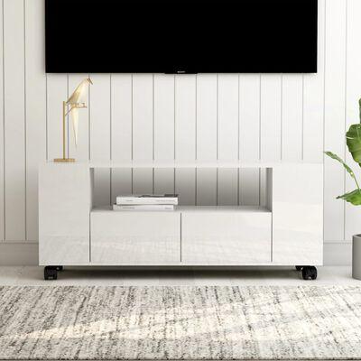 vidaXL Mueble para TV aglomerado blanco brillante 120x35x43 cm