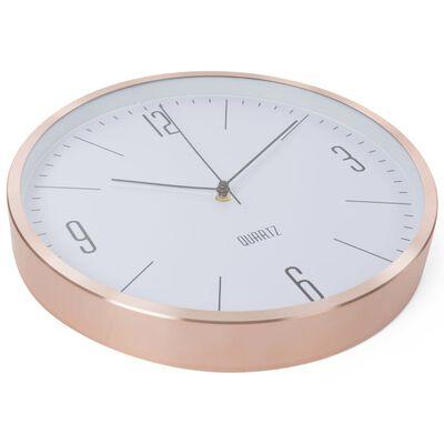 Perel Reloj de pared blanco y oro rosa 30 cm