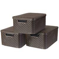 Curver Cajas de almacenaje con tapa Style 3 unidades M marrón 240655