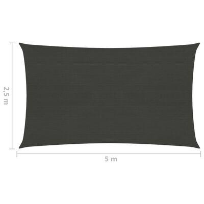vidaXL Toldo de vela gris antracita HDPE 160 g/m² 2,5x5 m