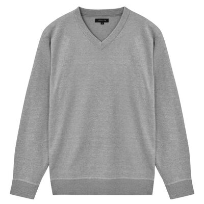 vidaXL Jersey de hombre cuello de pico gris M