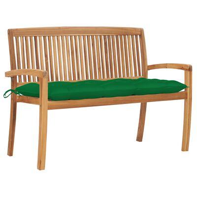 vidaXL Banco de jardín apilable y cojín madera maciza de teca 128,5 cm