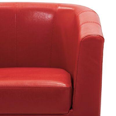 vidaXL Sillón con diseño de cubo cuero sintético rojo