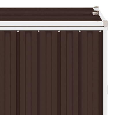vidaXL Cobertizo cuádruple cubo de basura acero marrón 286x81x121 cm