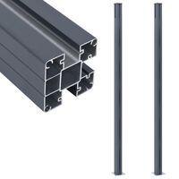 vidaXL Postes de valla 2 unidades aluminio gris oscuro 185 cm