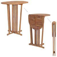 vidaXL Mesa plegable de bar de madera de teca maciza 100x65x105 cm