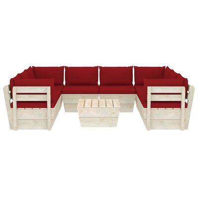 vidaXL Muebles de jardín de palets 9 piezas y cojines madera de abeto