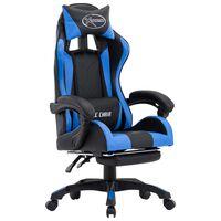 vidaXL Silla gaming con reposapiés cuero sintético azul y negro