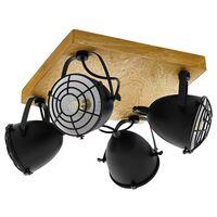 EGLO Focos Gatebeck 4 bombillas acero y madera negro