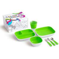 Munchkin Juego de vajilla y cubiertos 7 piezas Color Me Hungry verde
