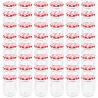 vidaXL Tarros de mermelada de vidrio tapa blanca y roja 48 uds 230 ml
