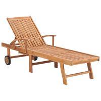 vidaXL Tumbona de madera maciza de teca