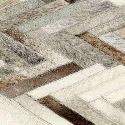 vidaXL Alfombra de almazuela cuero pelo gris/blanco 80x150 cm