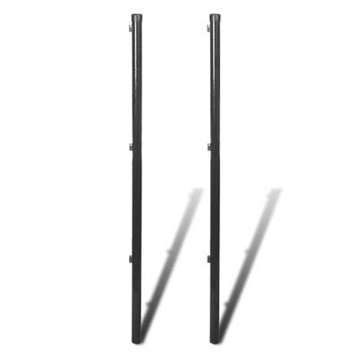 vidaXL Postes para valla de tela metálica 2 unidades gris 150 cm