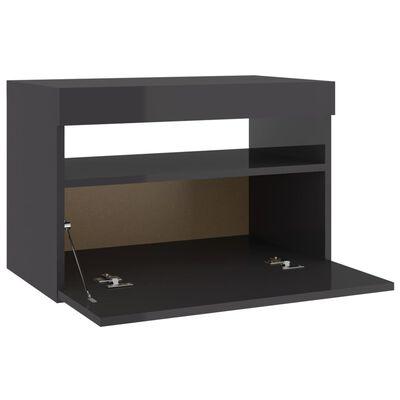 vidaXL Mueble para TV con luces LED gris brillante 60x35x40 cm