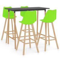 vidaXL Mesa alta y taburetes de bar 5 piezas verde