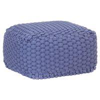 vidaXL Puf tejido a mano de algodón azul 50x50x30 cm