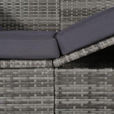vidaXL Cama de jardín con toldo 205x62 cm ratán sintético gris