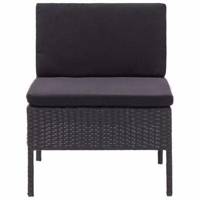 vidaXL Set muebles de jardín 8 piezas y cojines ratán sintético negro