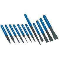 Draper Tools Juego cincel y punzón 12 piezas azul 26557