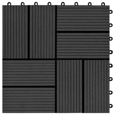 vidaXL Baldosas para porche de WPC 30x30 cm 1 m² negro 11 unidades