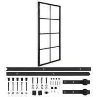 vidaXL Puerta corredera de aluminio y vidrio ESG con herrajes 76x205cm