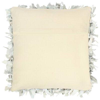 vidaXL Cojín con flecos de cuero y algodón gris claro 60x60 cm