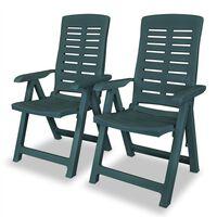 vidaXL Sillas de jardín reclinables 2 unidades plástico verde