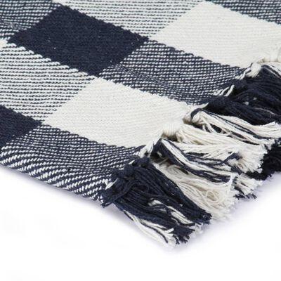 vidaXL Manta a cuadros de algodón azul marino 160x210 cm