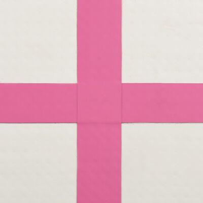 vidaXL Esterilla inflable de gimnasia con bomba PVC rosa 200x200x15 cm