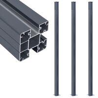vidaXL Postes de valla 3 unidades aluminio gris oscuro 185 cm