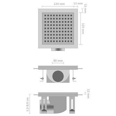 vidaXL Desagüe de ducha de acero inoxidable 15x15 cm