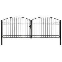 vidaXL Cancela de valla doble puerta con arco 400x150 cm acero negro